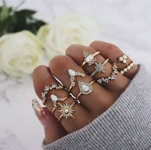 Cool Retro Gold & Opal 10 Piece Ring Set